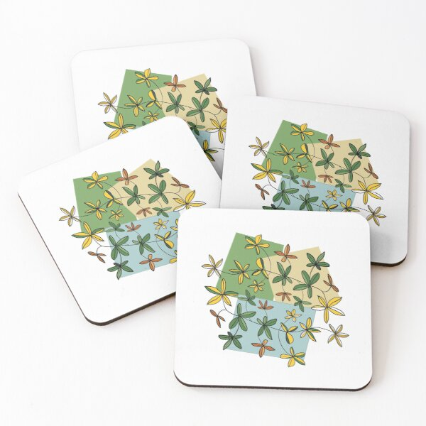 Flora vegetation Flower greenery Coasters (Set of 4)