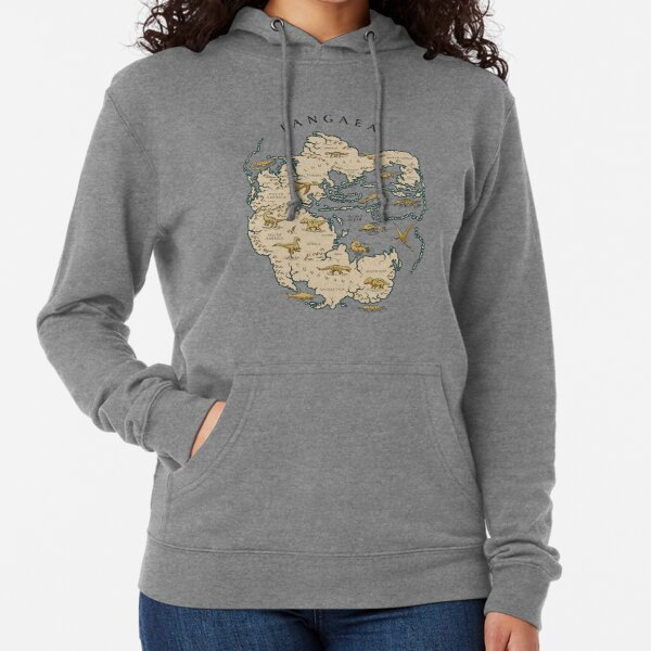 map of the supercontinent Pangaea Lightweight Hoodie
