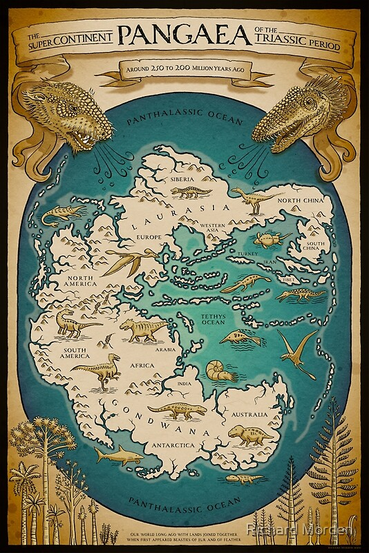 Map Of The Supercontinent Pangaea Posters By Richard Morden - Pangaea map