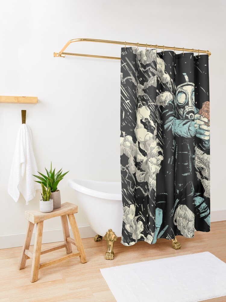 Alternate view of Attack! Shower Curtain