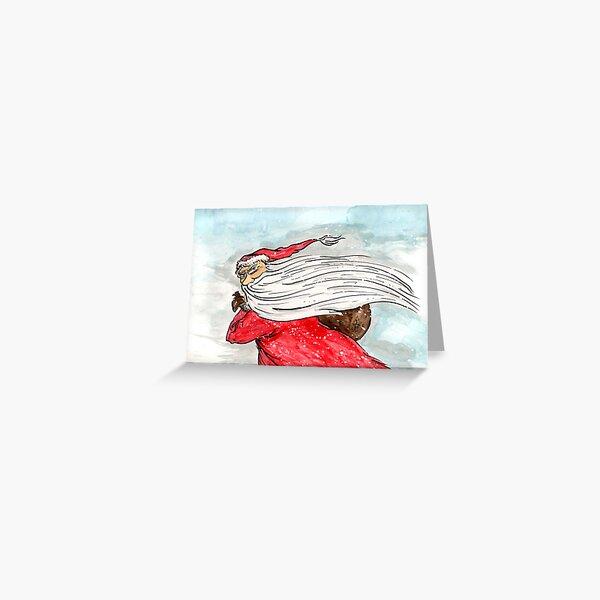 Snow Storm Santa Greeting Card