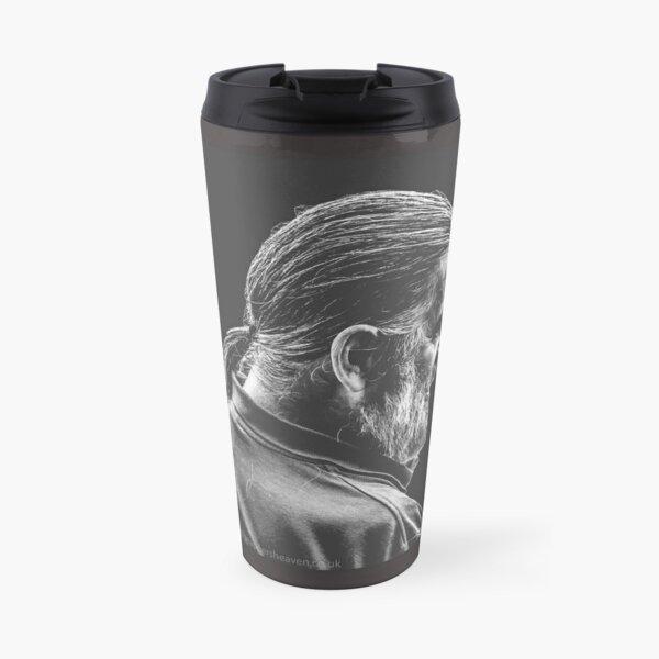 Street Photography - longhaird bearded man  Travel Mug