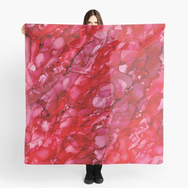 Red Poinsettia: Original Abstract Alcohol Ink Painting Scarf