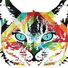 Cat Acid Trip -  Colorful Art by Robert R by Robert  Erod