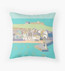 St Ives harbour in purple and blue Throw Pillow