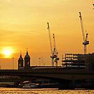 Thames Cranes by Philip Cozzolino