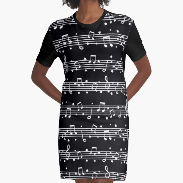Music Notes White on Black Graphic T-Shirt Dress