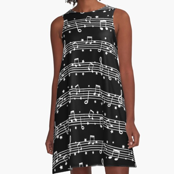 Music Notes White on Black A-Line Dress