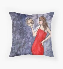 Red Lady with Demon Skull Throw Pillow