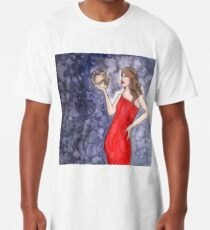 Red Lady with Demon Skull Long T-Shirt
