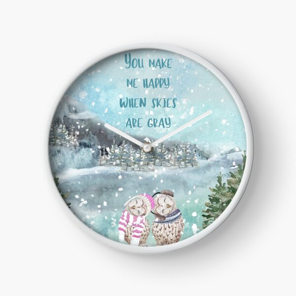 Cute Winter Owls, You make me happy when skies are gray Clock