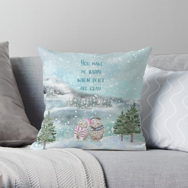 Cute Winter Owls, You make me happy when skies are gray Throw Pillow