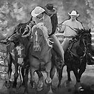 Rodeo Cowboys in Black and White by SharonButler