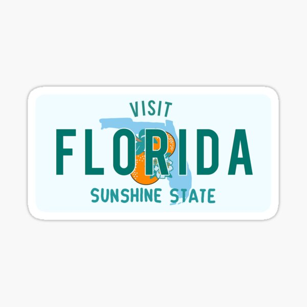florida vintage license plate sticker Sticker