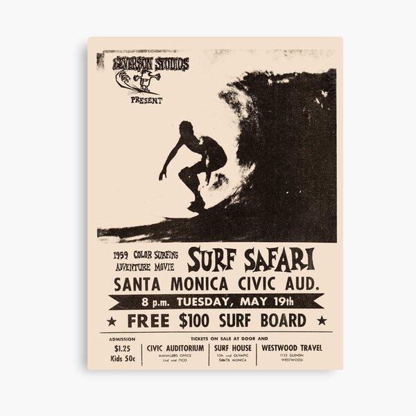 Surf Safari 1959 Vintage Poster, Artwork, Prints, Posters, Tshirts, Men, Women, Kids Canvas Print