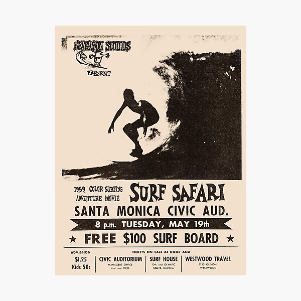 Surf Safari 1959 Vintage Poster, Artwork, Prints, Posters, Tshirts, Men, Women, Kids Photographic Print
