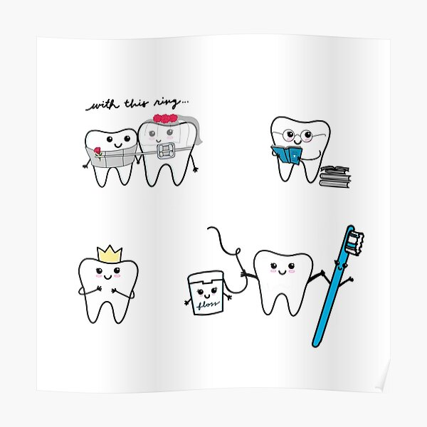 lindos dientes haciendo cosas Póster