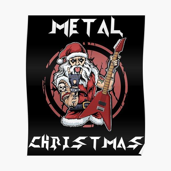 Heavy Metal Christmas Metalhead Santa Rock Horns Death Metal Poster