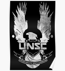 Halo UNSC Faded Watercolor Print White on Black Poster