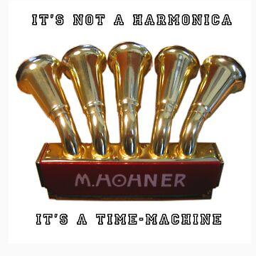Harmonica Time-Machine sticker by whosekidding