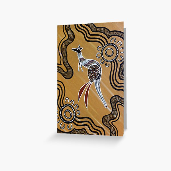 Authentic Aboriginal Art -  Kangaroo Greeting Card