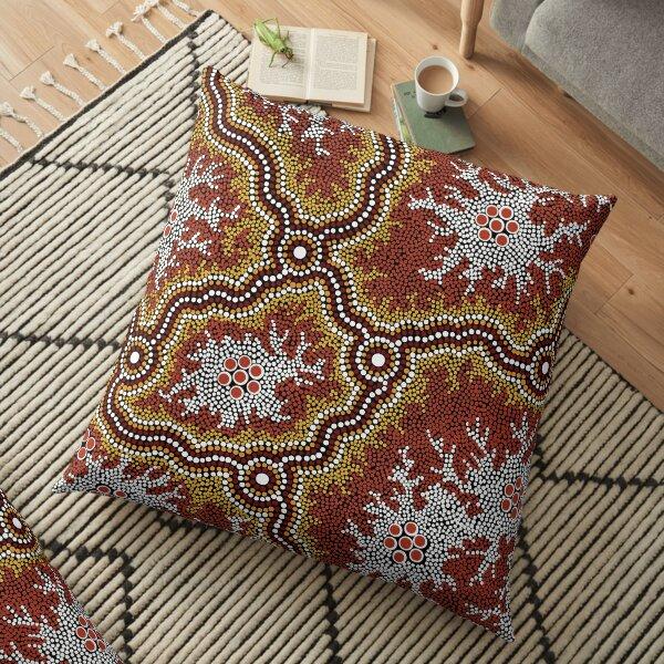 Authentic Aboriginal Art -  Mountains  Floor Pillow