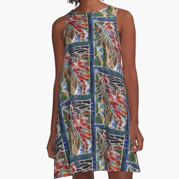 Mosaic Leaf A-Line Dress