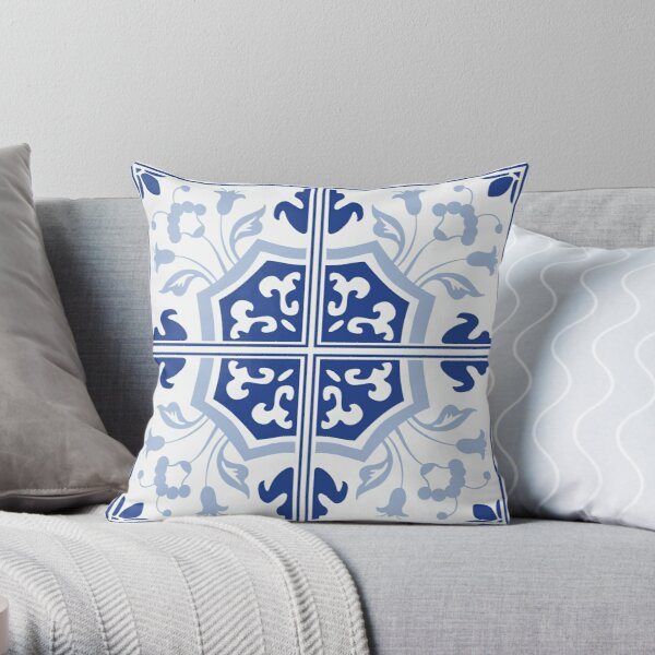 Delft Blue China Tile Throw Pillow