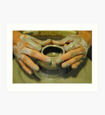 Potter hands, spinning pottery wheel Art Print