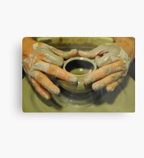 Potter hands, spinning pottery wheel Metal Print