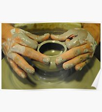 Potter hands, spinning pottery wheel Poster