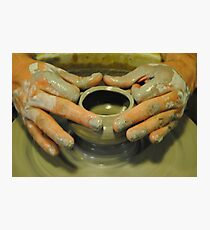 Potter hands, spinning pottery wheel Photographic Print