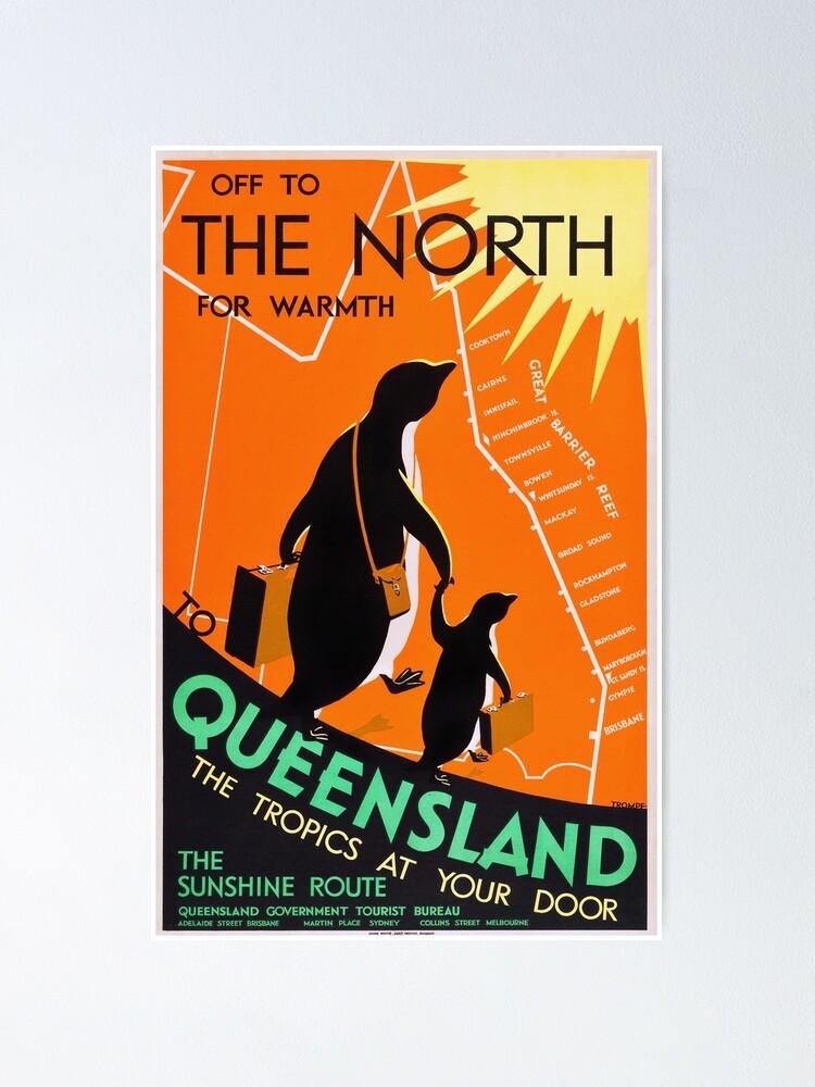 Alternate view of Queensland, Australia - Vintage 1930s Travel Poster Poster
