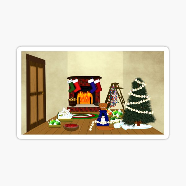 Oliver Decorates for Christmas Glossy Sticker