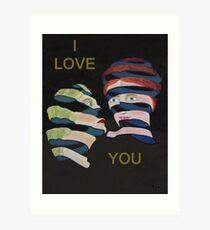 Lesvos By Night I Love You Art Print