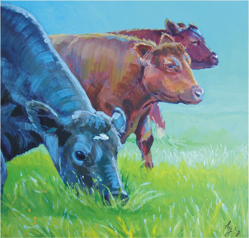 Field of Dreams - Acrylic painting three cows by MikeJory