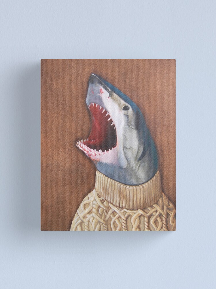 Alternate view of Shark in a Sweater Canvas Print