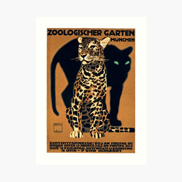 1912 Ludwig Hohlwein Munich Zoo Leopard And Panther Poster Art Print