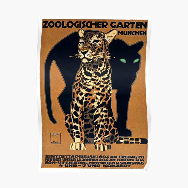 1912 Ludwig Hohlwein Munich Zoo Leopard And Panther Poster Poster