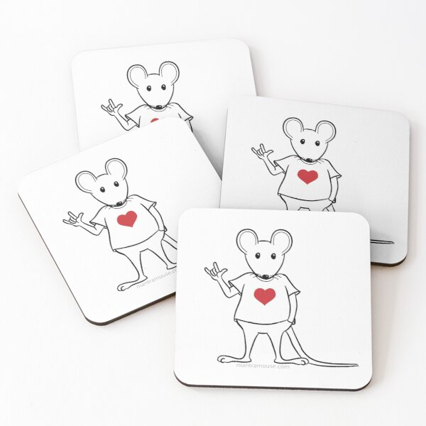 MantraMouse® with Love Sign Coasters (Set of 4)