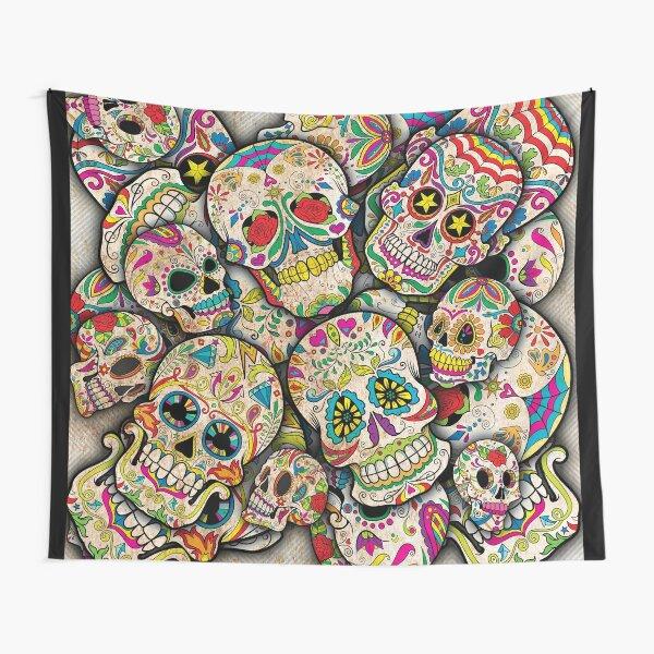 Sugar Skull Collage Tapestry