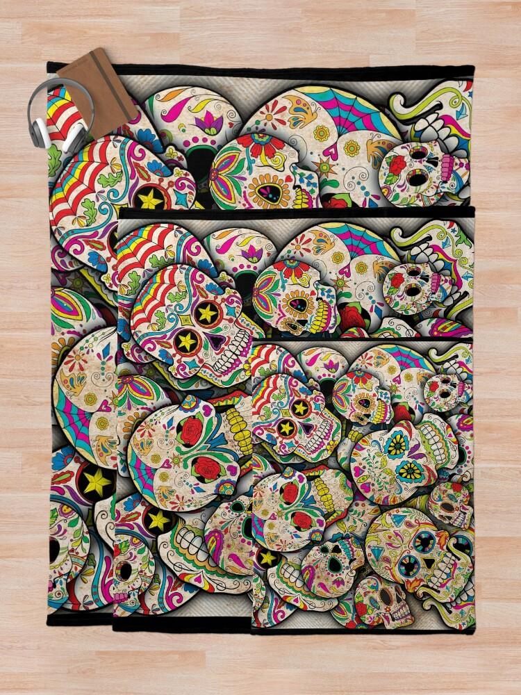 Alternate view of Sugar Skull Collage Throw Blanket