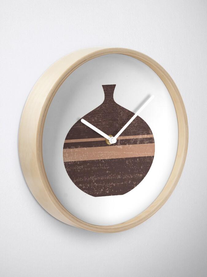Alternate view of Minimal Abstract Greek Vase 7 - Aryballos - Terracotta Series - Modern, Contemporary Print - Taupe Clock