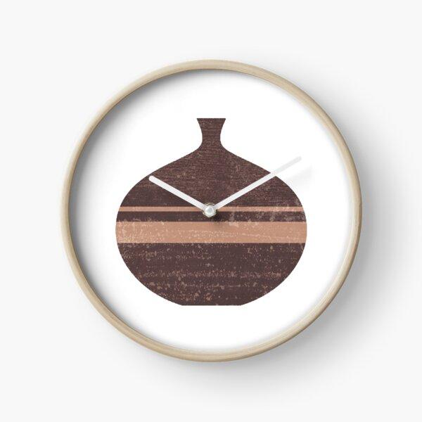 Minimal Abstract Greek Vase 7 - Aryballos - Terracotta Series - Modern, Contemporary Print - Taupe Clock