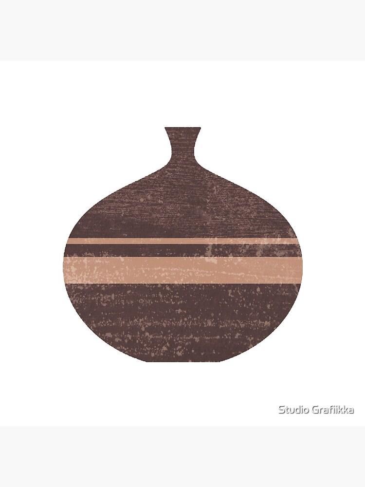 Minimal Abstract Greek Vase 7 - Aryballos - Terracotta Series - Modern, Contemporary Print - Taupe by Shrijit