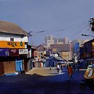 nagpur market. acrylic on canvas 60x36 inches by biswaal