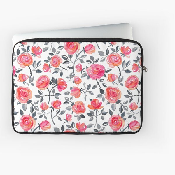 Roses on White - a watercolor floral pattern Laptop Sleeve