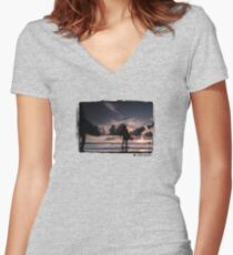 Ghost Surfers Women's Fitted V-Neck T-Shirt