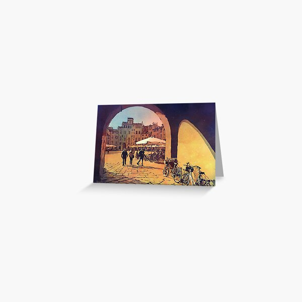 Watercolor painting of Lucca, Italy- people in the Anfiteatro central square.  Painting Lucca Italy artwork Greeting Card