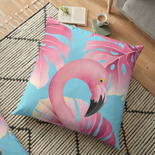 Beautiful Flamingo With Tropical Leafs Floor Pillow